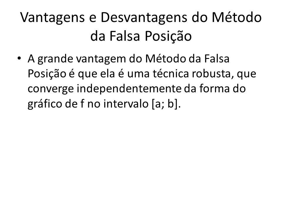 Vantagens e Desvantagens do Método da Falsa Posição A grande vantagem do Método da Falsa Posição é que ela é uma técnica robusta, que converge independentemente da forma do gráfico de f no intervalo [a; b].