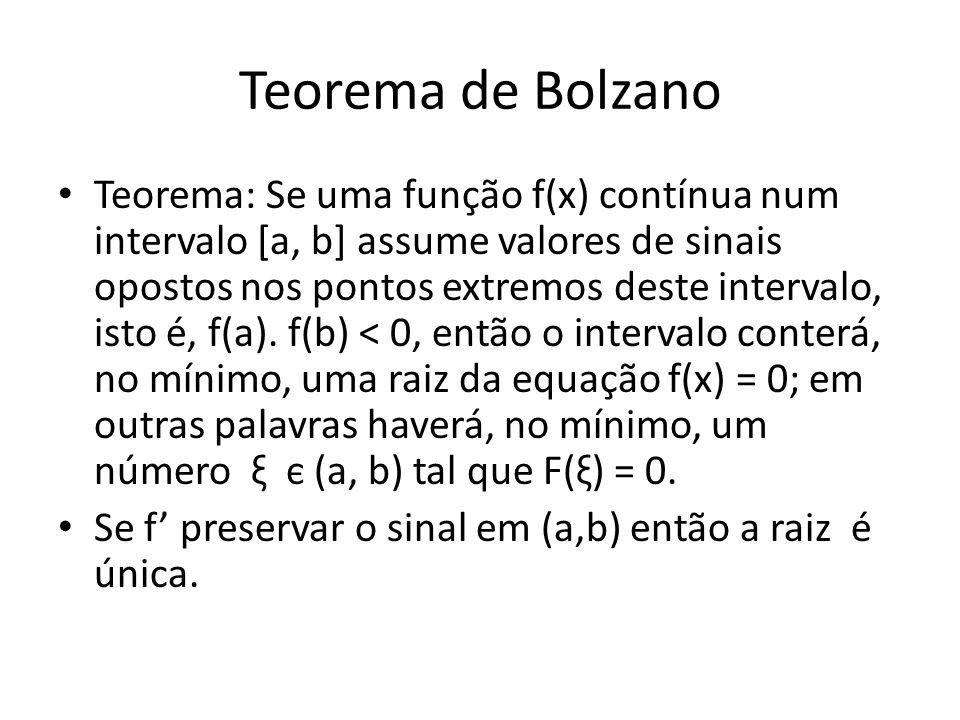 Teorema de Bolzano Teorema: Se uma função f(x) contínua num intervalo [a, b] assume valores de sinais opostos nos pontos extremos deste intervalo, ist