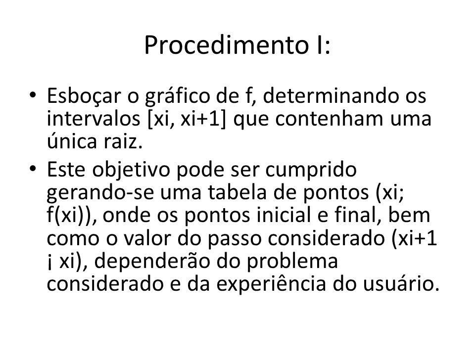 Procedimento I: Esboçar o gráfico de f, determinando os intervalos [xi, xi+1] que contenham uma única raiz. Este objetivo pode ser cumprido gerando-se