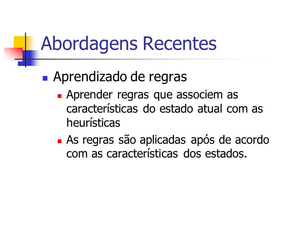 Abordagens Recentes Aprendizado de regras Aprender regras que associem as características do estado atual com as heurísticas As regras são aplicadas a