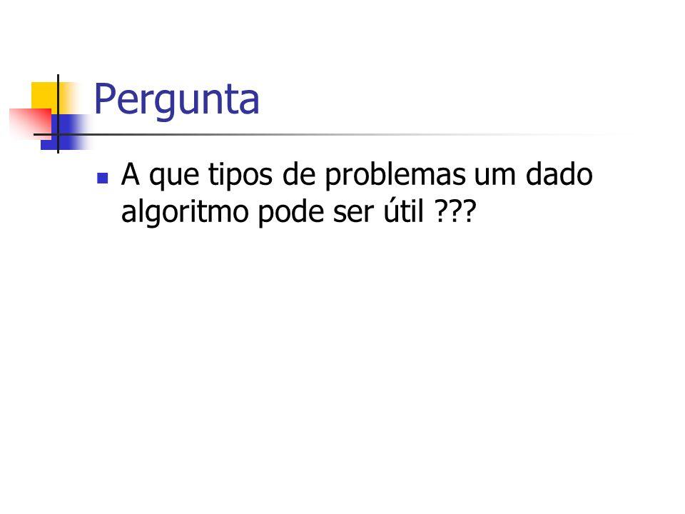 Pergunta A que tipos de problemas um dado algoritmo pode ser útil ???