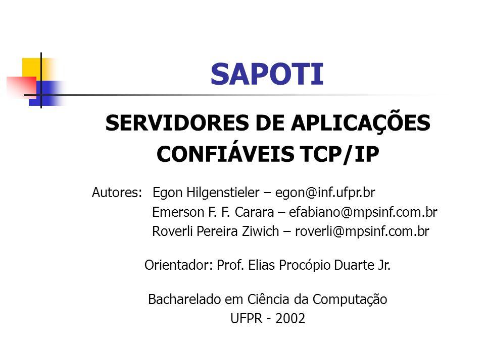 SAPOTI SERVIDORES DE APLICAÇÕES CONFIÁVEIS TCP/IP Autores: Egon Hilgenstieler – egon@inf.ufpr.br Emerson F.