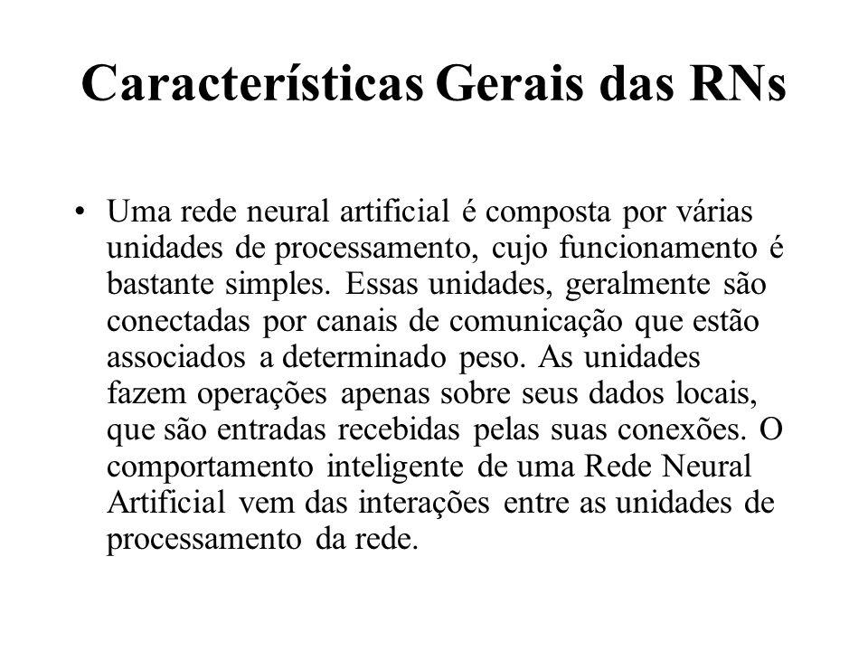 Características Gerais das RNs Uma rede neural artificial é composta por várias unidades de processamento, cujo funcionamento é bastante simples. Essa