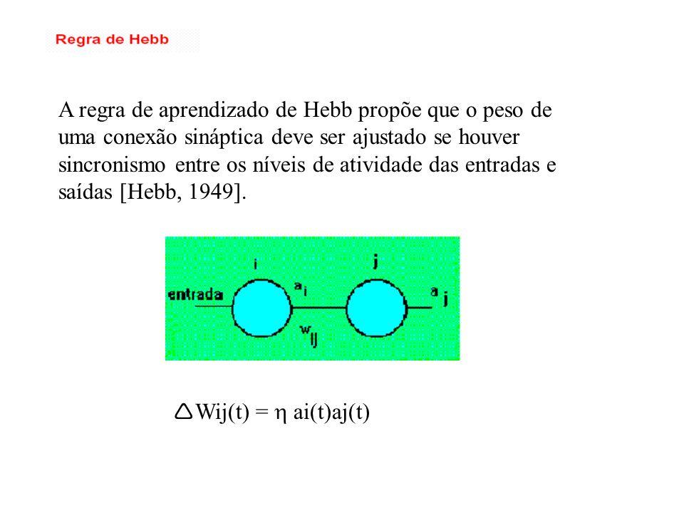 A regra de aprendizado de Hebb propõe que o peso de uma conexão sináptica deve ser ajustado se houver sincronismo entre os níveis de atividade das ent