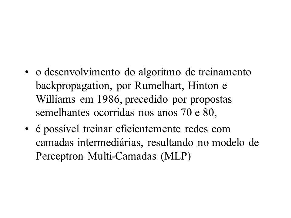 o desenvolvimento do algoritmo de treinamento backpropagation, por Rumelhart, Hinton e Williams em 1986, precedido por propostas semelhantes ocorridas