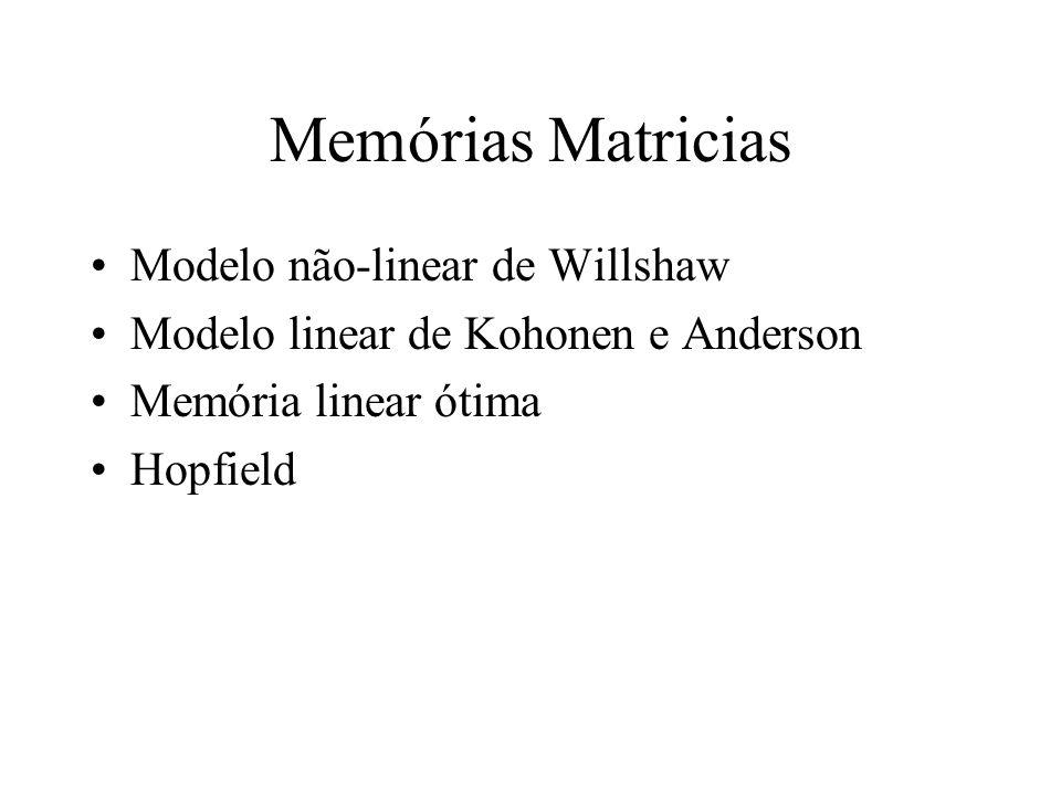 Memórias Matricias Modelo não-linear de Willshaw Modelo linear de Kohonen e Anderson Memória linear ótima Hopfield