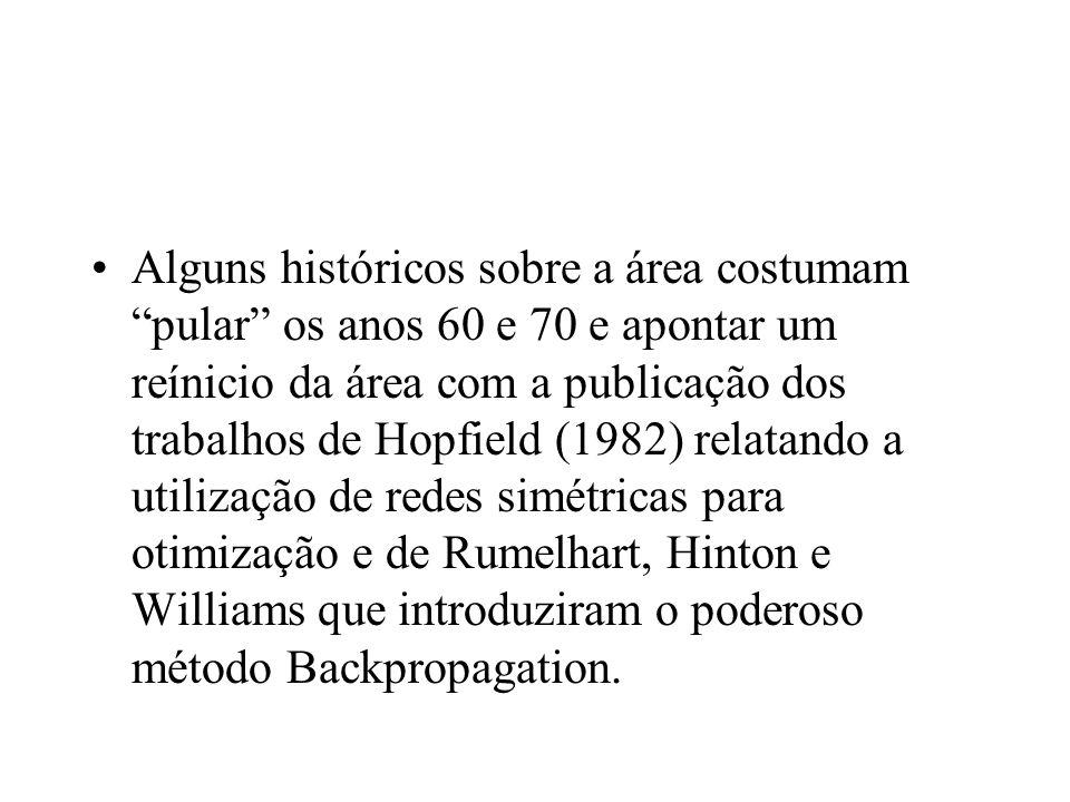 Alguns históricos sobre a área costumam pular os anos 60 e 70 e apontar um reínicio da área com a publicação dos trabalhos de Hopfield (1982) relatand