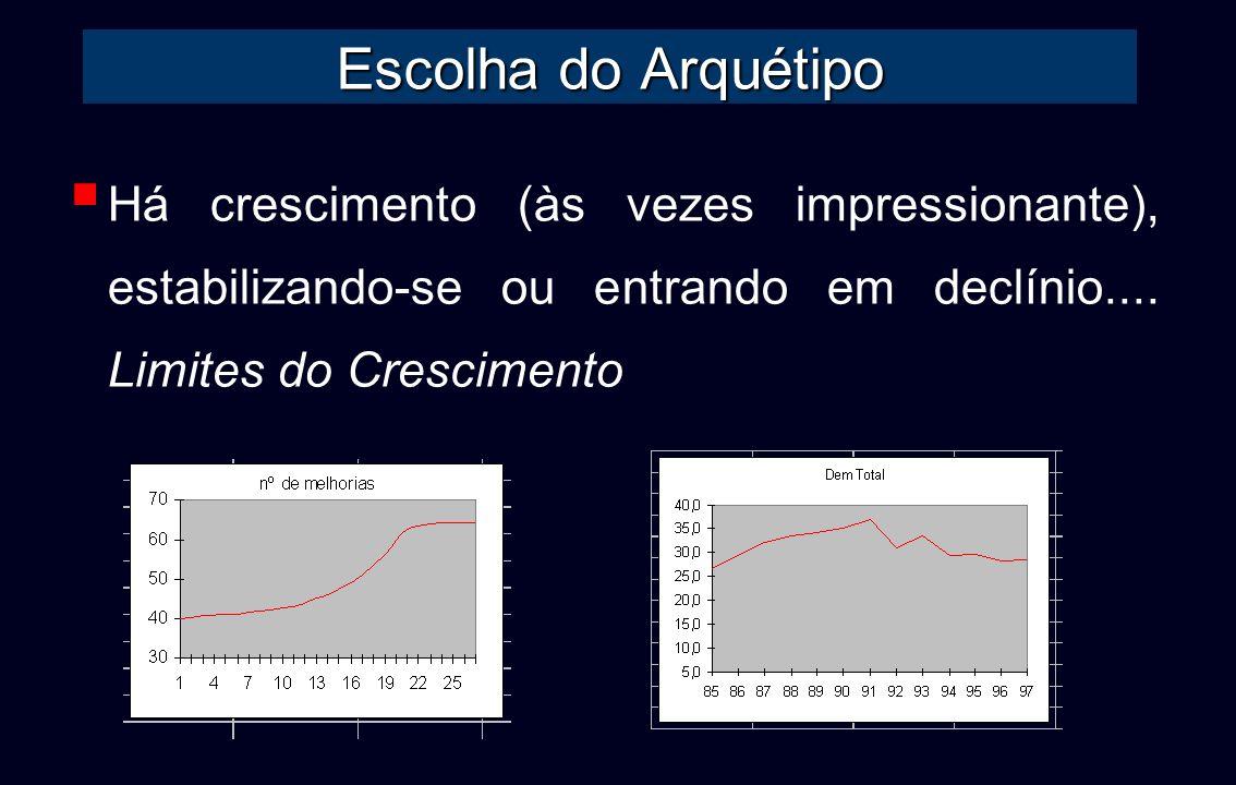 Escolha do Arquétipo Há crescimento (às vezes impressionante), estabilizando-se ou entrando em declínio.... Limites do Crescimento