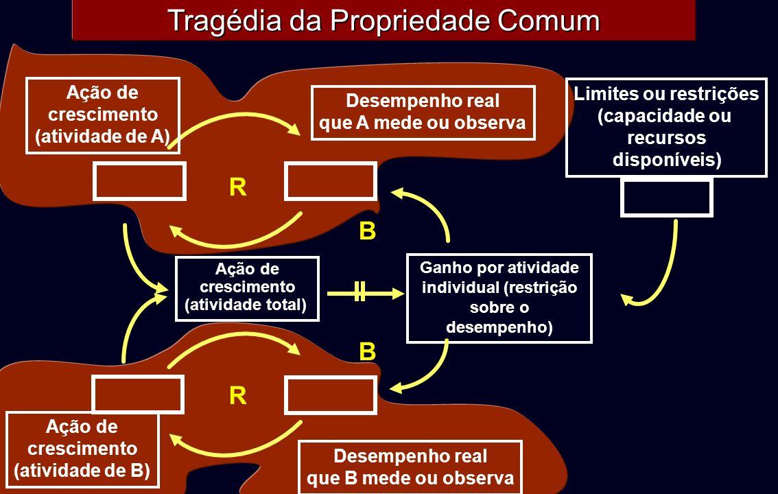 Tragédia da Propriedade Comum R Ação de crescimento (atividade de A) Desempenho real que A mede ou observa R Ação de crescimento (atividade de B) Dese