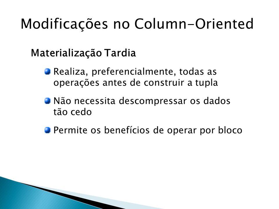 Modificações no Column-Oriented Materialização Tardia Realiza, preferencialmente, todas as operações antes de construir a tupla Não necessita descompressar os dados tão cedo Permite os benefícios de operar por bloco