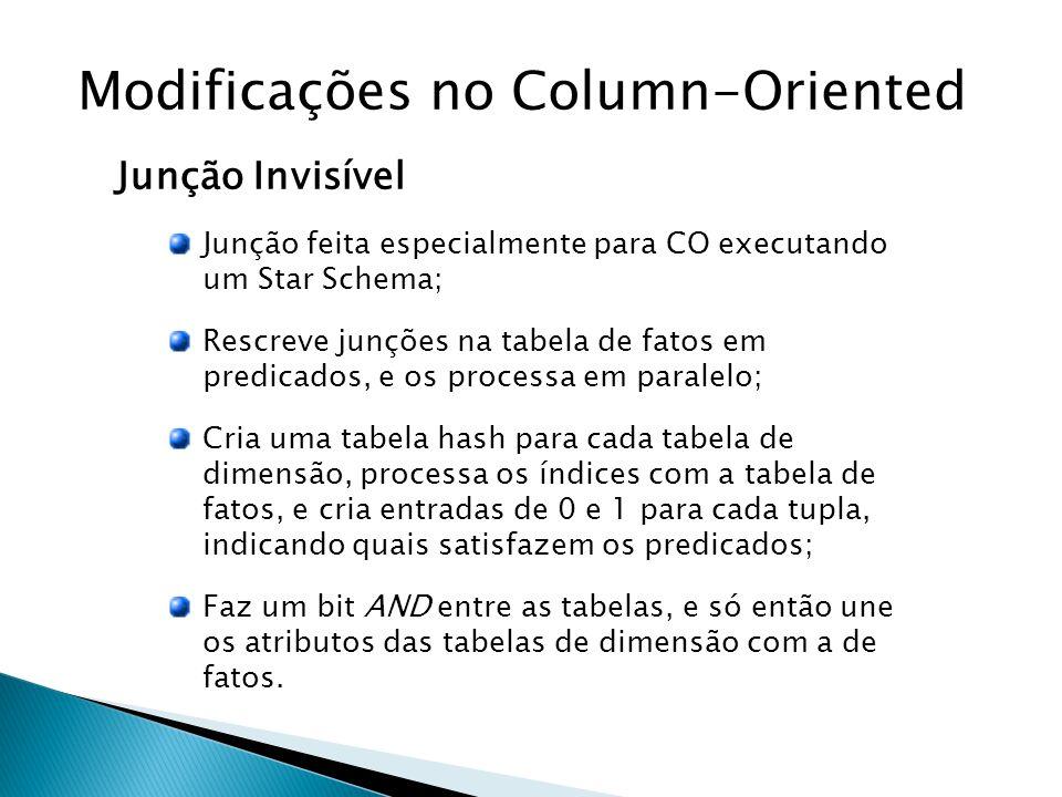 Modificações no Column-Oriented Junção Invisível Junção feita especialmente para CO executando um Star Schema; Rescreve junções na tabela de fatos em predicados, e os processa em paralelo; Cria uma tabela hash para cada tabela de dimensão, processa os índices com a tabela de fatos, e cria entradas de 0 e 1 para cada tupla, indicando quais satisfazem os predicados; Faz um bit AND entre as tabelas, e só então une os atributos das tabelas de dimensão com a de fatos.