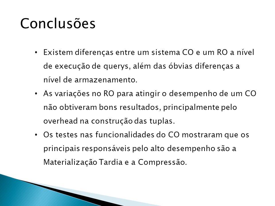 Conclusões Existem diferenças entre um sistema CO e um RO a nível de execução de querys, além das óbvias diferenças a nível de armazenamento.