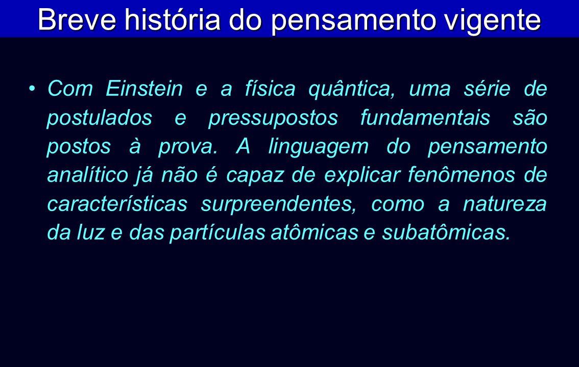 Com Einstein e a física quântica, uma série de postulados e pressupostos fundamentais são postos à prova. A linguagem do pensamento analítico já não é