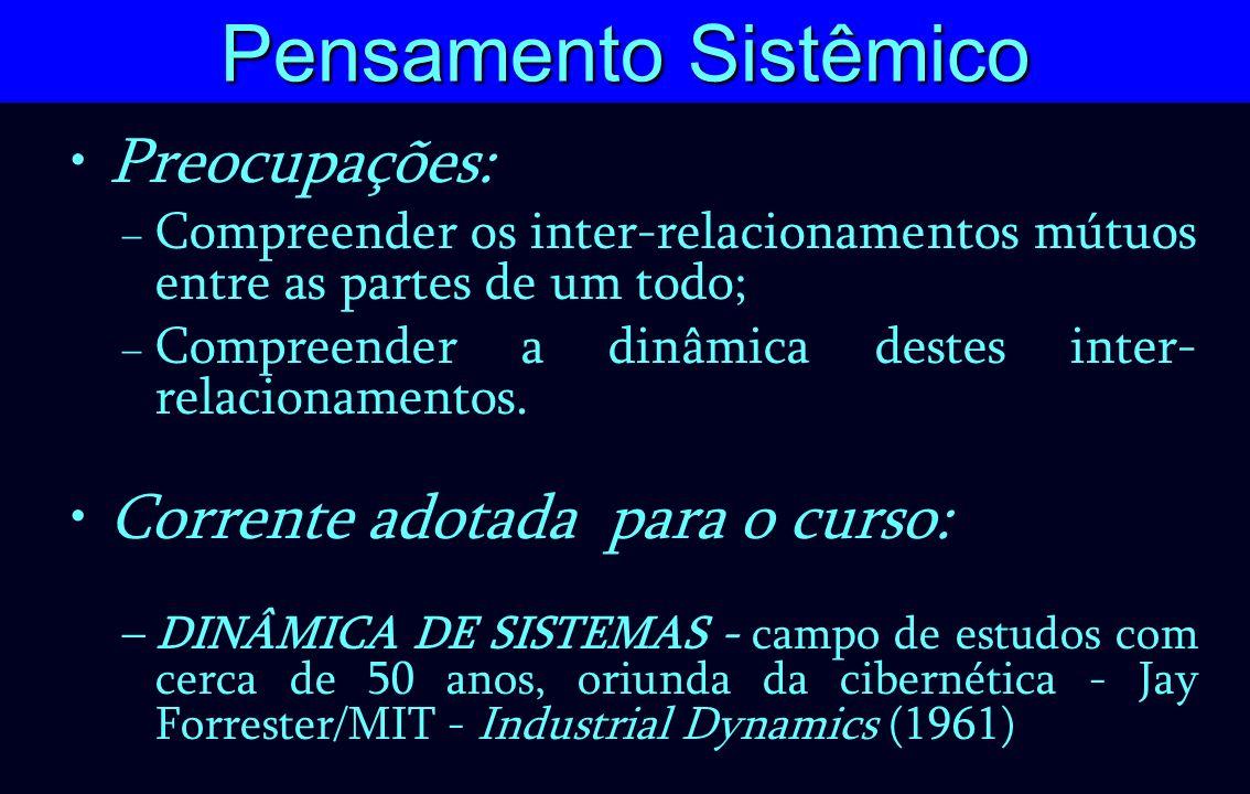 Pensamento Sistêmico Preocupações: – Compreender os inter-relacionamentos mútuos entre as partes de um todo; – Compreender a dinâmica destes inter- re