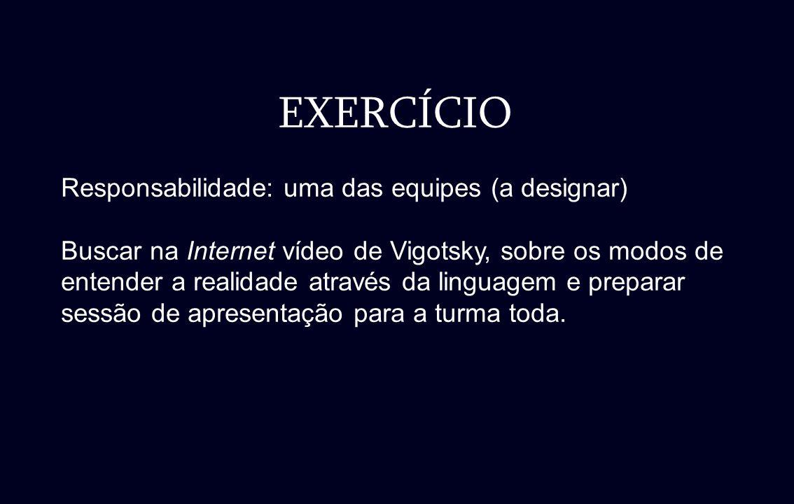 EXERCÍCIO Responsabilidade: uma das equipes (a designar) Buscar na Internet vídeo de Vigotsky, sobre os modos de entender a realidade através da lingu
