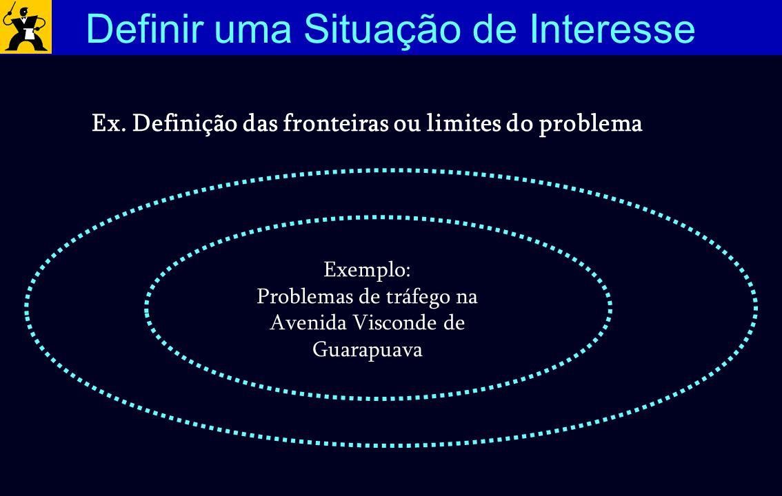 Ex. Definição das fronteiras ou limites do problema Exemplo: Problemas de tráfego na Avenida Visconde de Guarapuava Definir uma Situação de Interesse