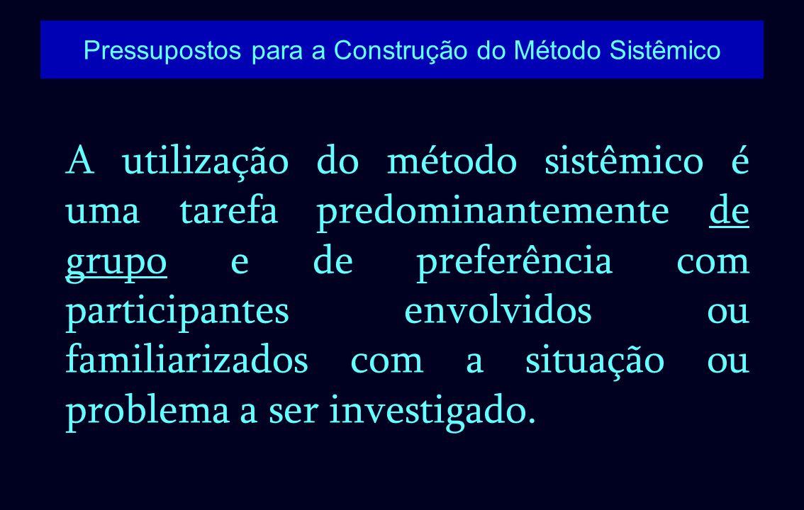 A utilização do método sistêmico é uma tarefa predominantemente de grupo e de preferência com participantes envolvidos ou familiarizados com a situaçã