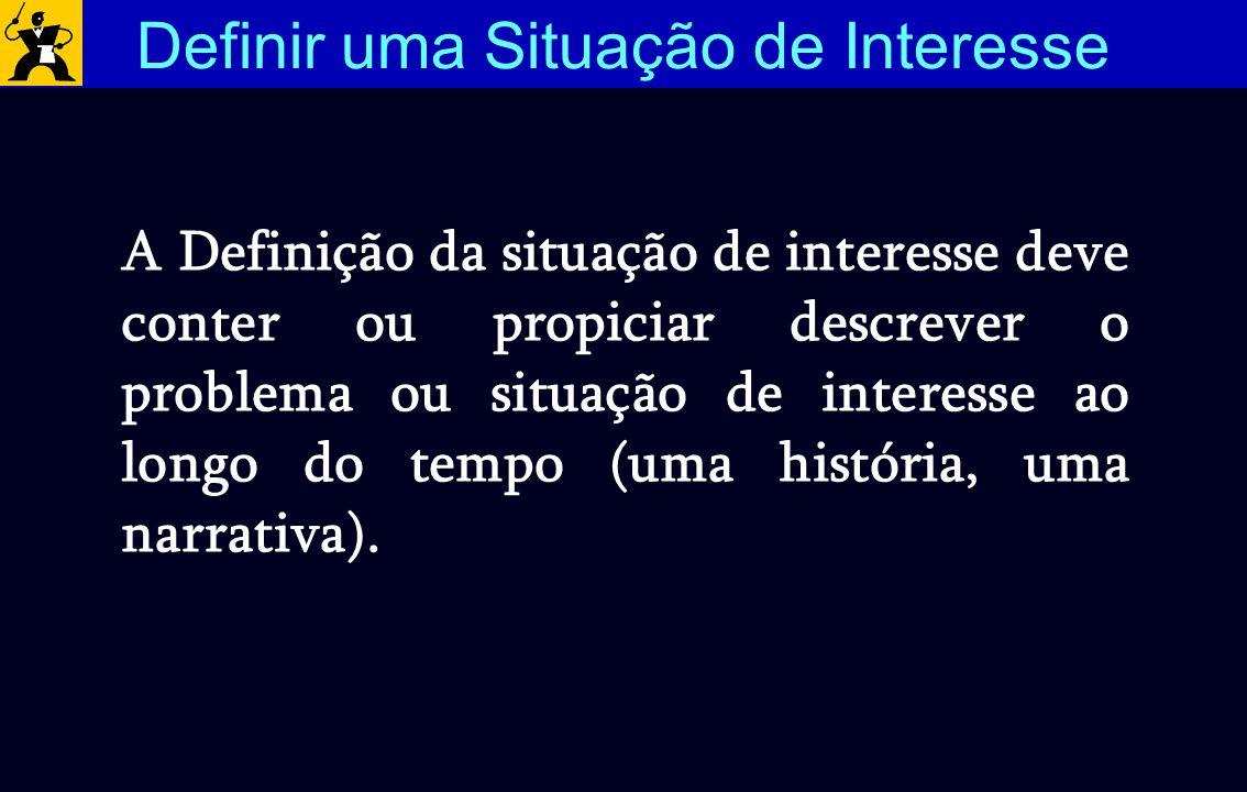 A situação de interesse ou o problema deve permitir uma definição do horizonte de tempo a ser investigado, bem como seus níveis de agregação (escala) 1 2 3 4 5 6 7 8 9 10 11 anos Horizonte de tempo escala Definir uma Situação de Interesse