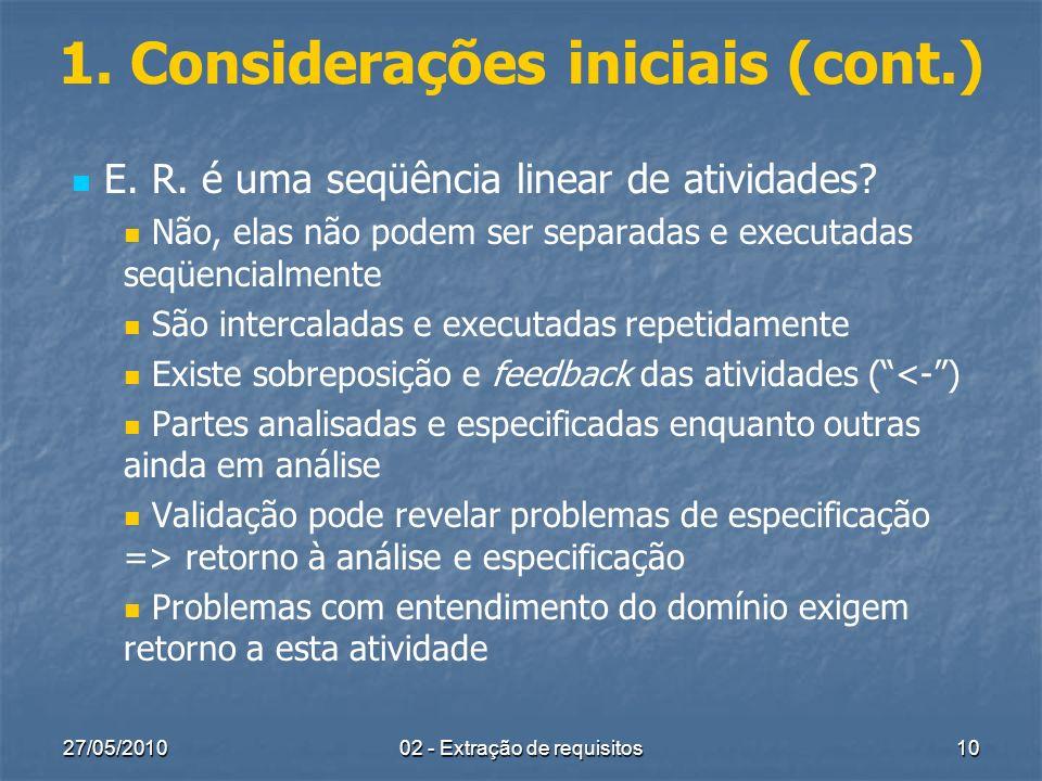 27/05/2010 02 - Extração de requisitos 10 1. Considerações iniciais (cont.) E. R. é uma seqüência linear de atividades? Não, elas não podem ser separa