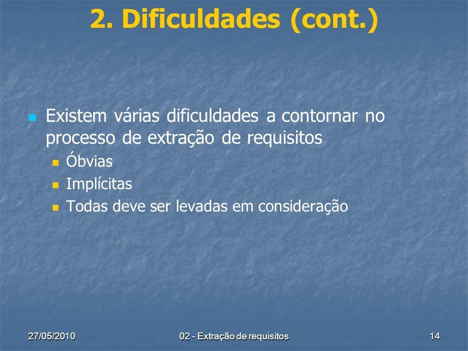 27/05/201002 - Extração de requisitos14 2. Dificuldades (cont.) Existem várias dificuldades a contornar no processo de extração de requisitos Óbvias I