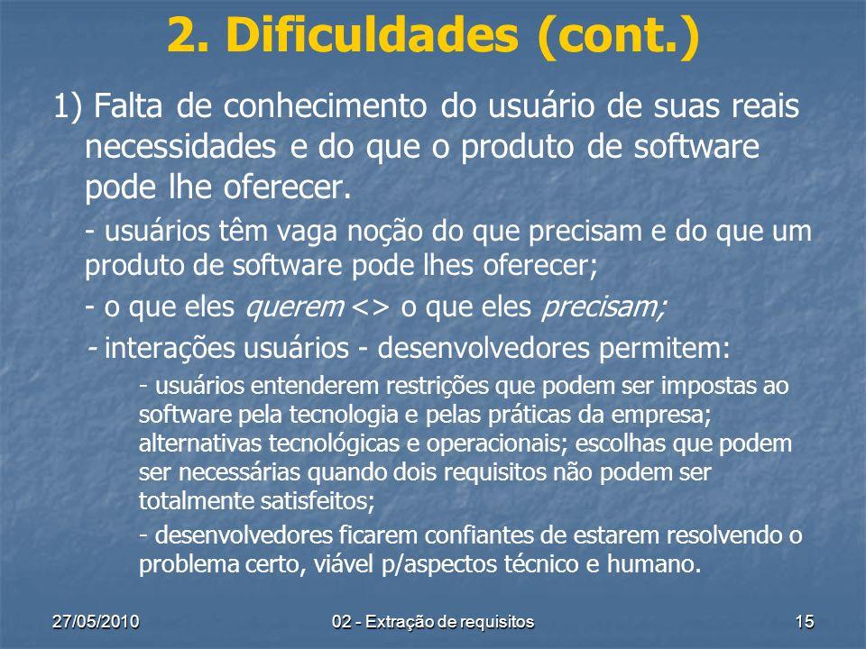 27/05/201002 - Extração de requisitos15 2. Dificuldades (cont.) 1) Falta de conhecimento do usuário de suas reais necessidades e do que o produto de s