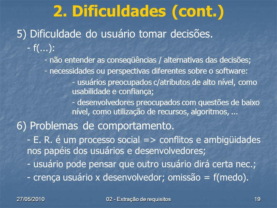 27/05/201002 - Extração de requisitos19 2. Dificuldades (cont.) 5) Dificuldade do usuário tomar decisões. - f(...): - não entender as conseqüências /