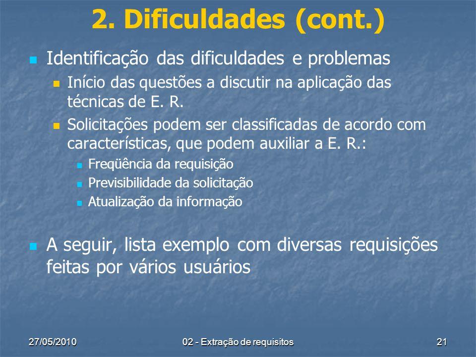 27/05/201002 - Extração de requisitos21 2. Dificuldades (cont.) Identificação das dificuldades e problemas Início das questões a discutir na aplicação