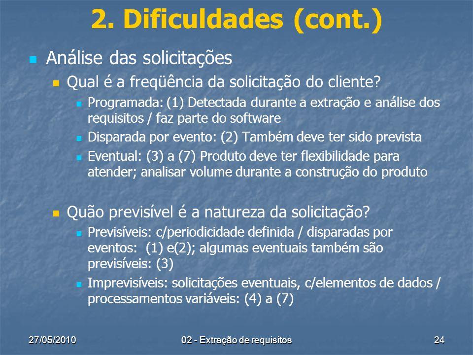 27/05/201002 - Extração de requisitos24 2. Dificuldades (cont.) Análise das solicitações Qual é a freqüência da solicitação do cliente? Programada: (1
