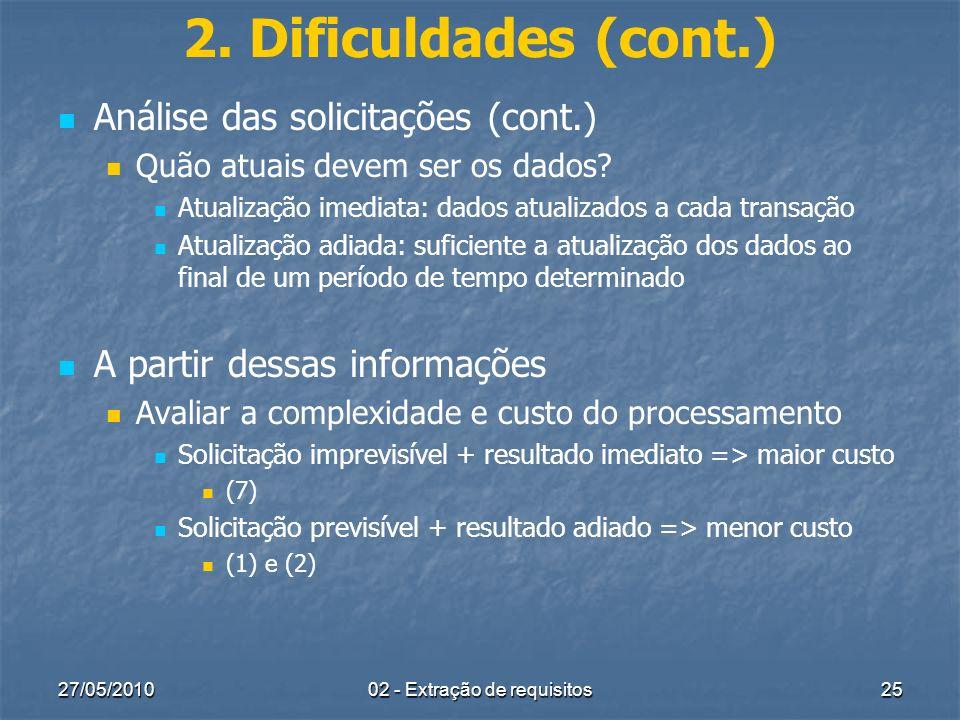 27/05/201002 - Extração de requisitos25 2. Dificuldades (cont.) Análise das solicitações (cont.) Quão atuais devem ser os dados? Atualização imediata: