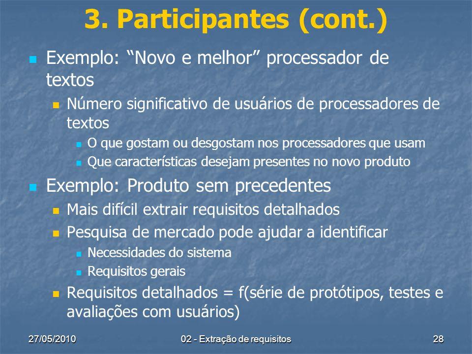 27/05/201002 - Extração de requisitos28 3. Participantes (cont.) Exemplo: Novo e melhor processador de textos Número significativo de usuários de proc