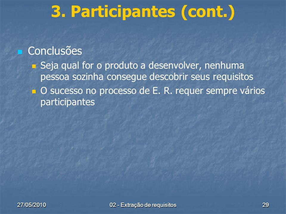 27/05/201002 - Extração de requisitos29 3. Participantes (cont.) Conclusões Seja qual for o produto a desenvolver, nenhuma pessoa sozinha consegue des