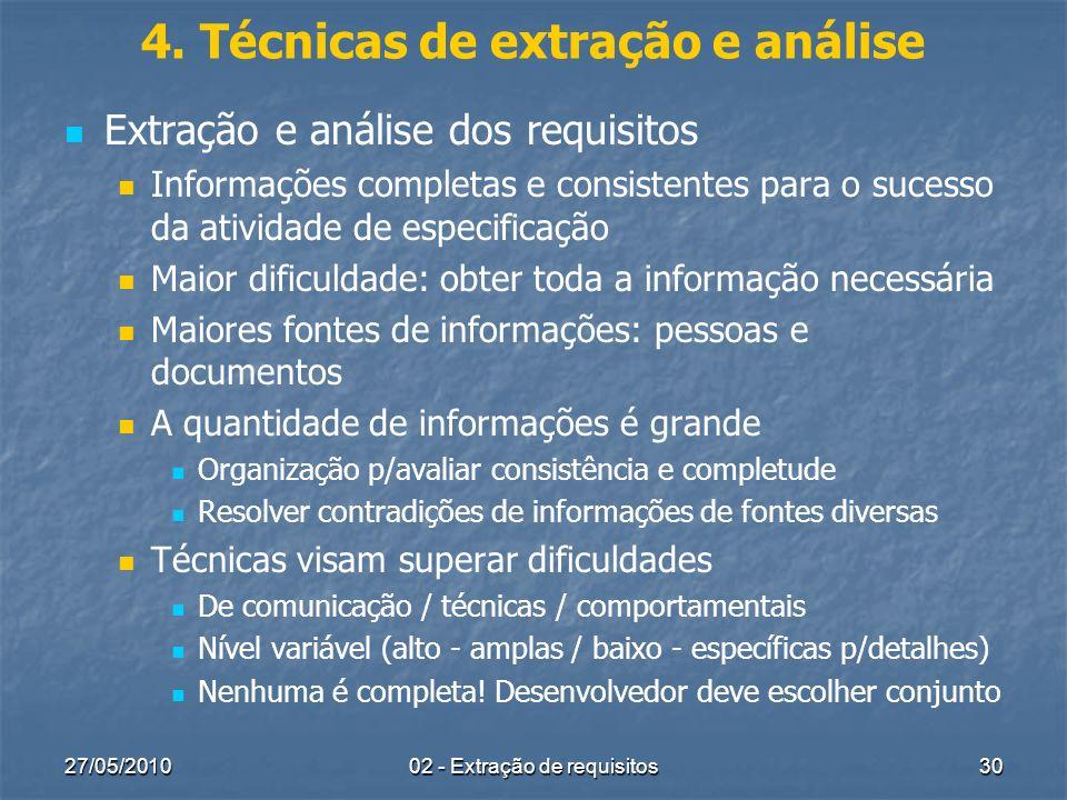 27/05/201002 - Extração de requisitos30 4. Técnicas de extração e análise Extração e análise dos requisitos Informações completas e consistentes para