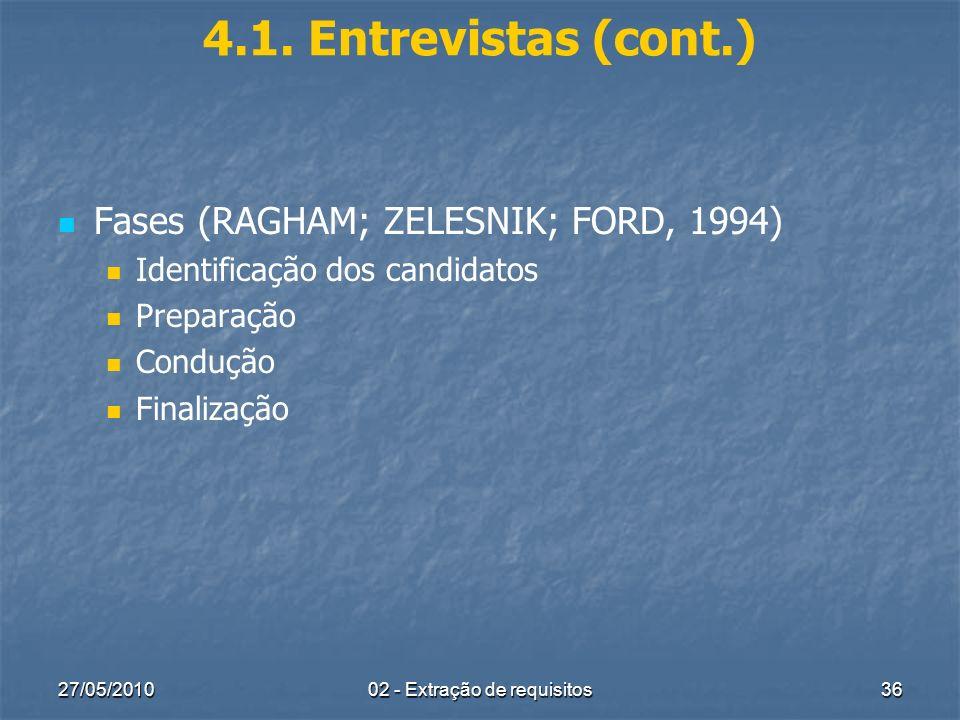 27/05/201002 - Extração de requisitos36 4.1. Entrevistas (cont.) Fases (RAGHAM; ZELESNIK; FORD, 1994) Identificação dos candidatos Preparação Condução