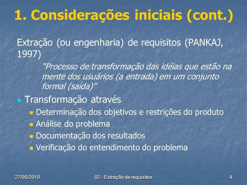 27/05/2010 02 - Extração de requisitos 4 1. Considerações iniciais (cont.) Extração (ou engenharia) de requisitos (PANKAJ, 1997) Processo de transform