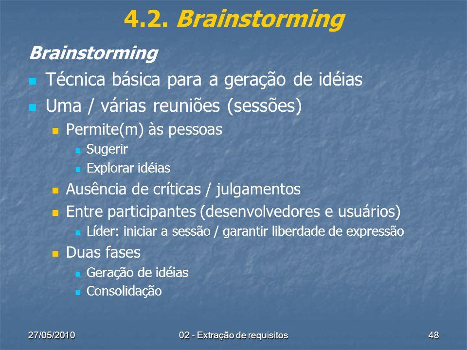 27/05/201002 - Extração de requisitos48 4.2. Brainstorming Brainstorming Técnica básica para a geração de idéias Uma / várias reuniões (sessões) Permi