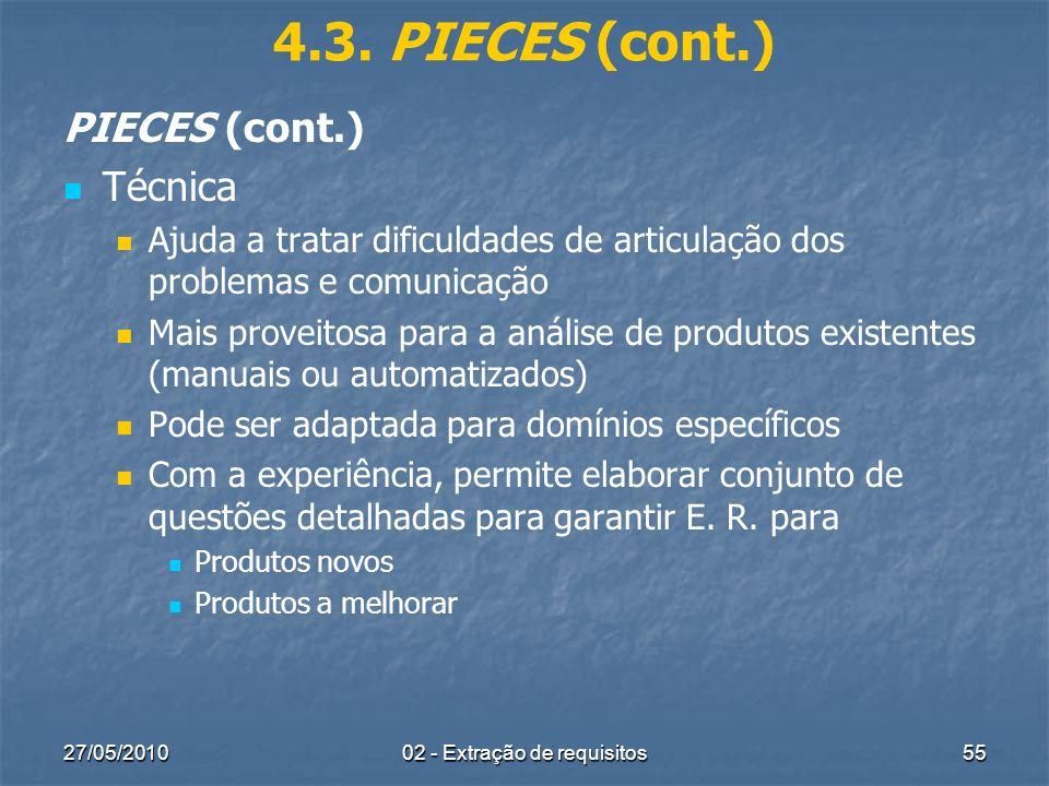 27/05/201002 - Extração de requisitos55 4.3. PIECES (cont.) PIECES (cont.) Técnica Ajuda a tratar dificuldades de articulação dos problemas e comunica