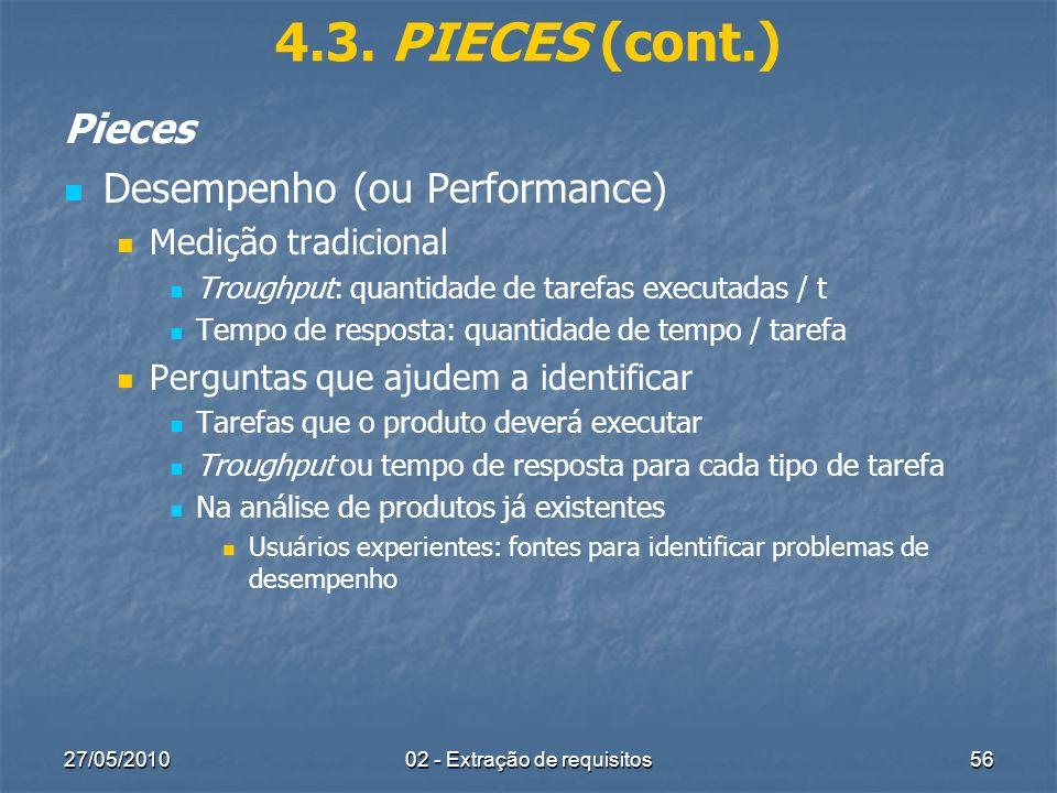 27/05/201002 - Extração de requisitos56 4.3. PIECES (cont.) Pieces Desempenho (ou Performance) Medição tradicional Troughput: quantidade de tarefas ex