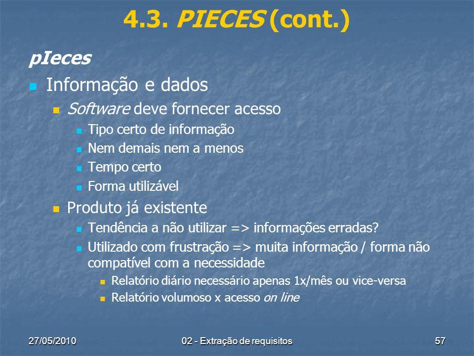 27/05/201002 - Extração de requisitos57 4.3. PIECES (cont.) pIeces Informação e dados Software deve fornecer acesso Tipo certo de informação Nem demai