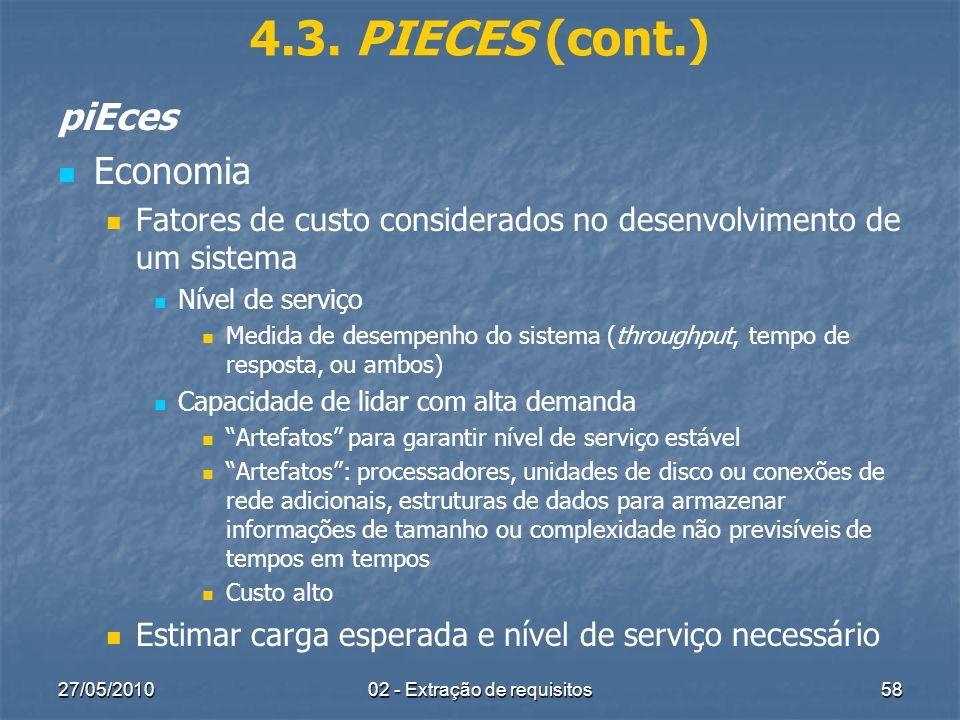 27/05/201002 - Extração de requisitos58 4.3. PIECES (cont.) piEces Economia Fatores de custo considerados no desenvolvimento de um sistema Nível de se