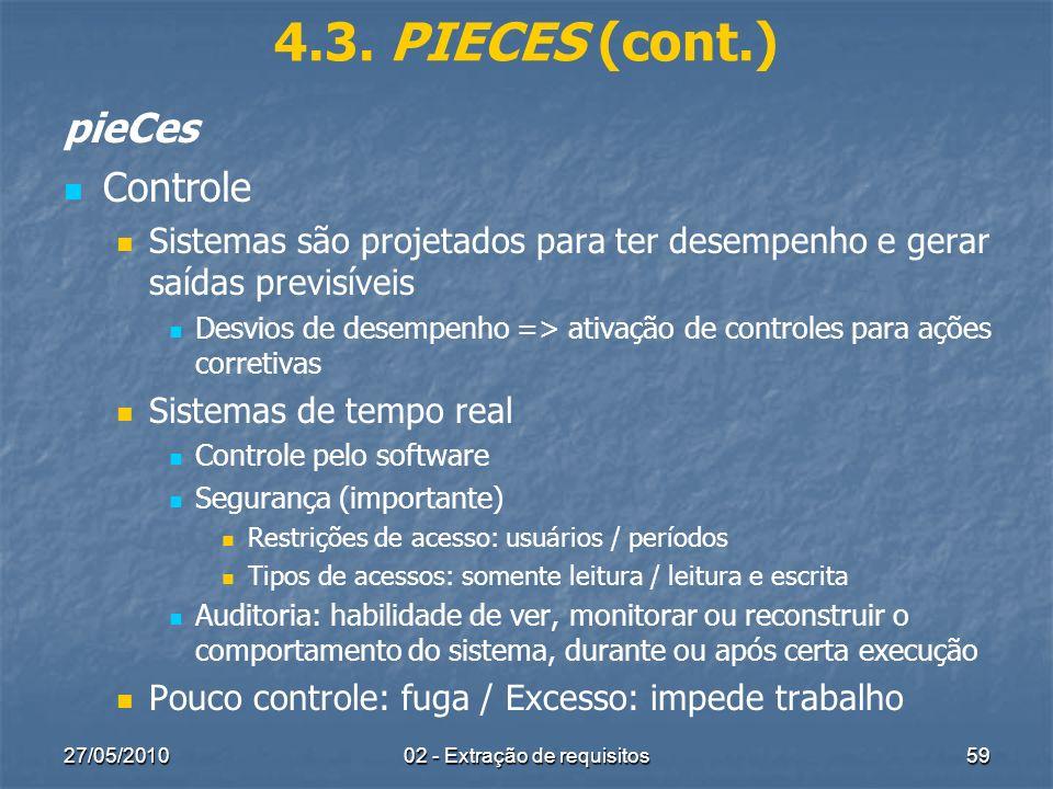 27/05/201002 - Extração de requisitos59 4.3. PIECES (cont.) pieCes Controle Sistemas são projetados para ter desempenho e gerar saídas previsíveis Des