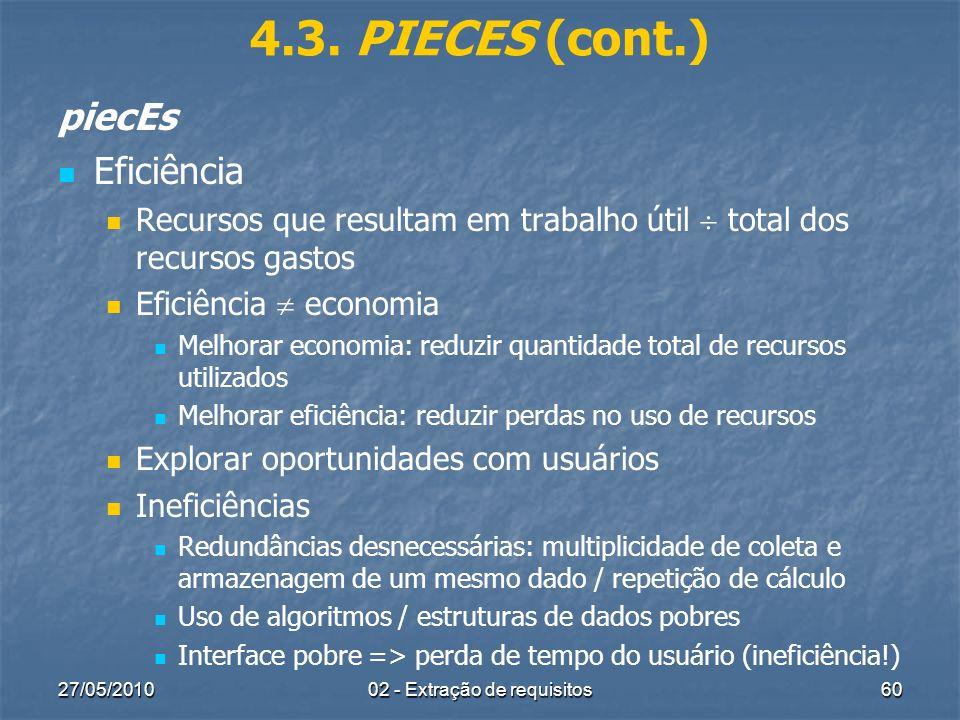 27/05/201002 - Extração de requisitos60 4.3. PIECES (cont.) piecEs Eficiência Recursos que resultam em trabalho útil total dos recursos gastos Eficiên
