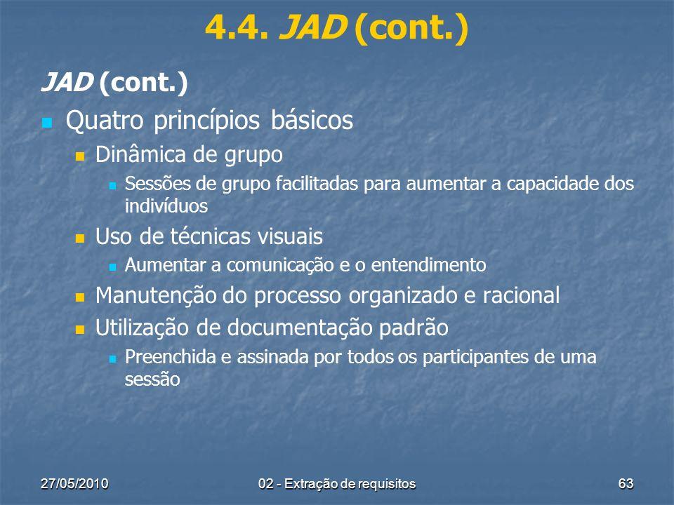 27/05/201002 - Extração de requisitos63 4.4. JAD (cont.) JAD (cont.) Quatro princípios básicos Dinâmica de grupo Sessões de grupo facilitadas para aum
