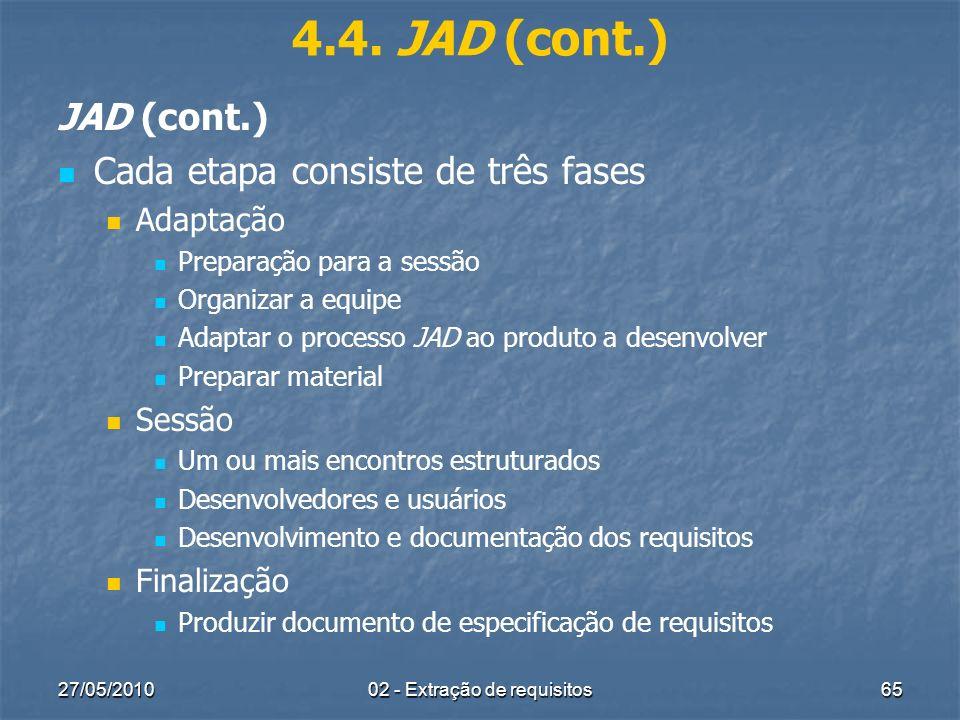 27/05/201002 - Extração de requisitos65 4.4. JAD (cont.) JAD (cont.) Cada etapa consiste de três fases Adaptação Preparação para a sessão Organizar a