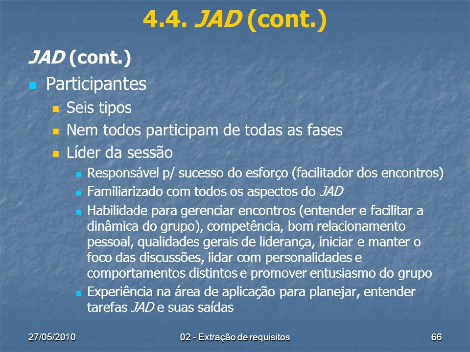 27/05/201002 - Extração de requisitos66 4.4. JAD (cont.) JAD (cont.) Participantes Seis tipos Nem todos participam de todas as fases Líder da sessão R