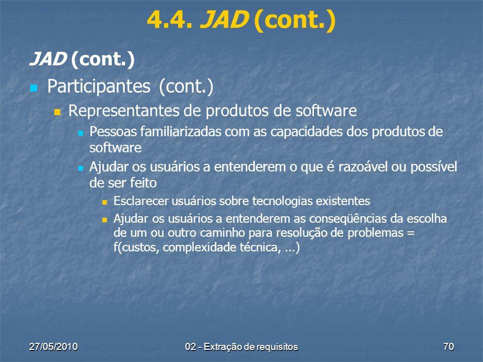 27/05/201002 - Extração de requisitos70 4.4. JAD (cont.) JAD (cont.) Participantes (cont.) Representantes de produtos de software Pessoas familiarizad