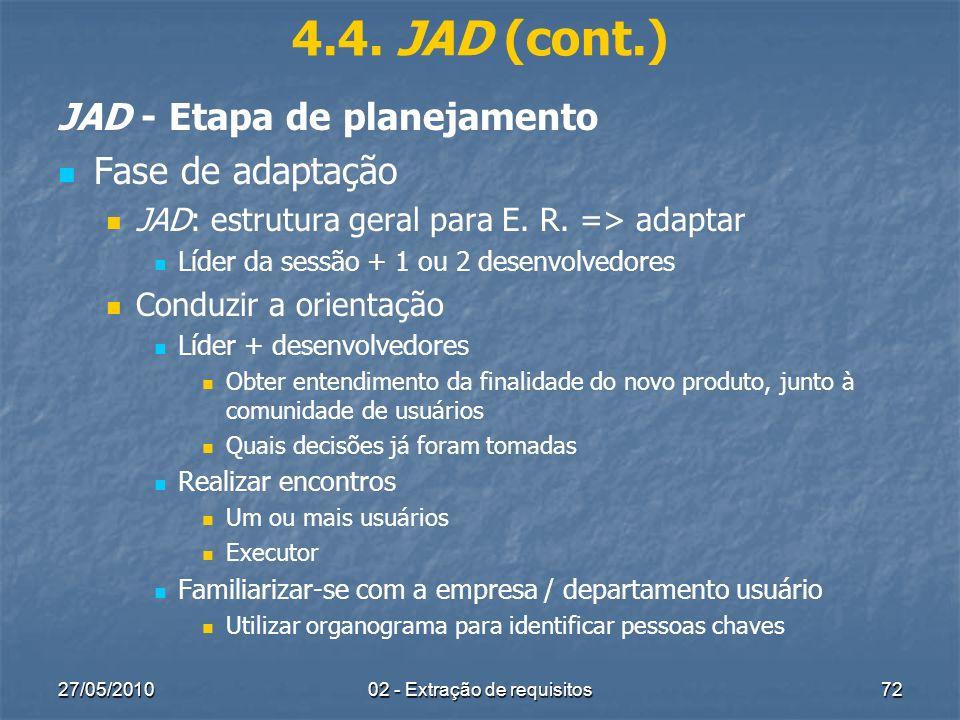27/05/201002 - Extração de requisitos72 4.4. JAD (cont.) JAD - Etapa de planejamento Fase de adaptação JAD: estrutura geral para E. R. => adaptar Líde