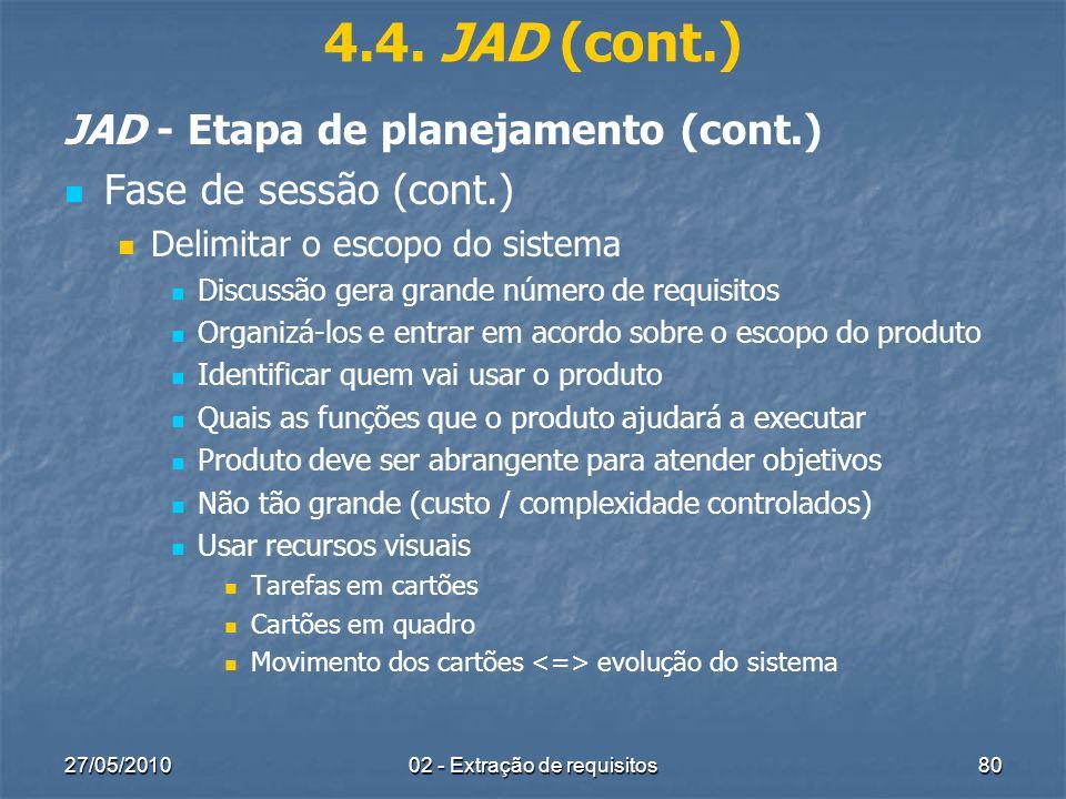 27/05/201002 - Extração de requisitos80 4.4. JAD (cont.) JAD - Etapa de planejamento (cont.) Fase de sessão (cont.) Delimitar o escopo do sistema Disc