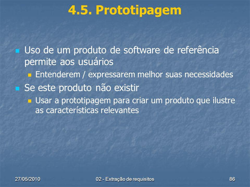 27/05/201002 - Extração de requisitos86 4.5. Prototipagem Uso de um produto de software de referência permite aos usuários Entenderem / expressarem me