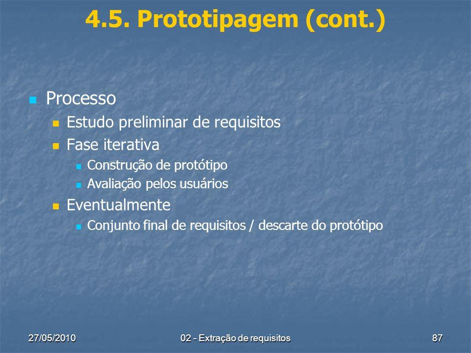 27/05/201002 - Extração de requisitos87 4.5. Prototipagem (cont.) Processo Estudo preliminar de requisitos Fase iterativa Construção de protótipo Aval