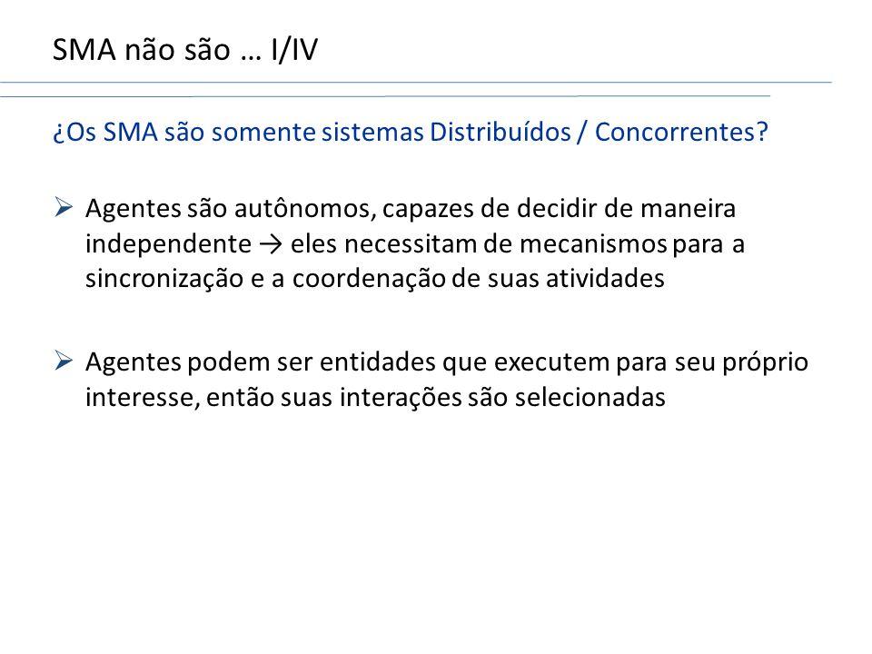 SMA não são … I/IV ¿Os SMA são somente sistemas Distribuídos / Concorrentes.
